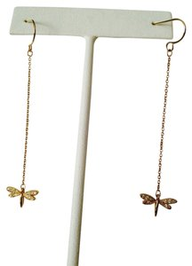 Anne Klein NWOT Gold-Tone Dragonflies With Cubic Zirconia Dangle Earrings
