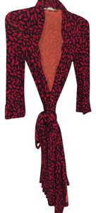 DV Dvf Red Lip Detail 3/4 Sleeve Length Wrap Dress