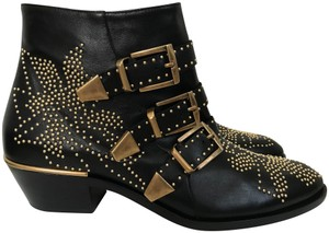 Chloe Leather Studded Black Boots