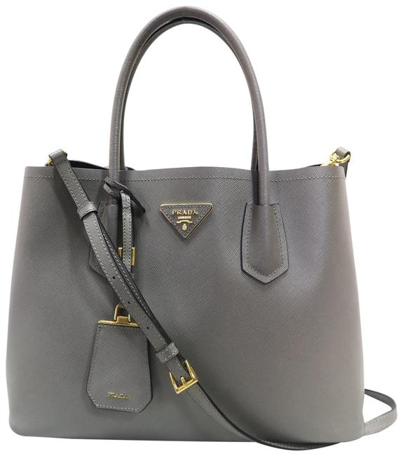 Item - Double Saffiano Cuir Tote White Slategray Canvas Satchel