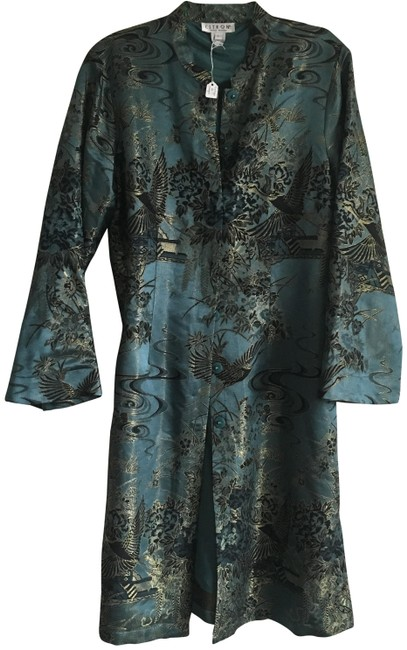 Item - Teal with Gold Can Be Worn As Or Outerwear Cardigan Size 12 (L)