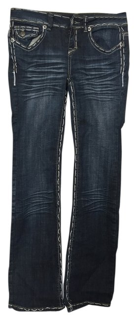 Division Stitching Boot Cut Jeans-Dark Rinse