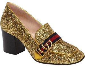 Gucci Marmont Loafer Gg Gold Pumps