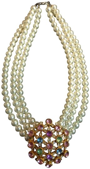 Preload https://item5.tradesy.com/images/white-pearls-with-pinkblue-and-lime-crystal-clasp-necklace-2248314-0-4.jpg?width=440&height=440