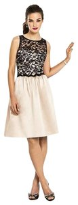 After Six Cocktail Sleeveless Satin Lace Beige Dress