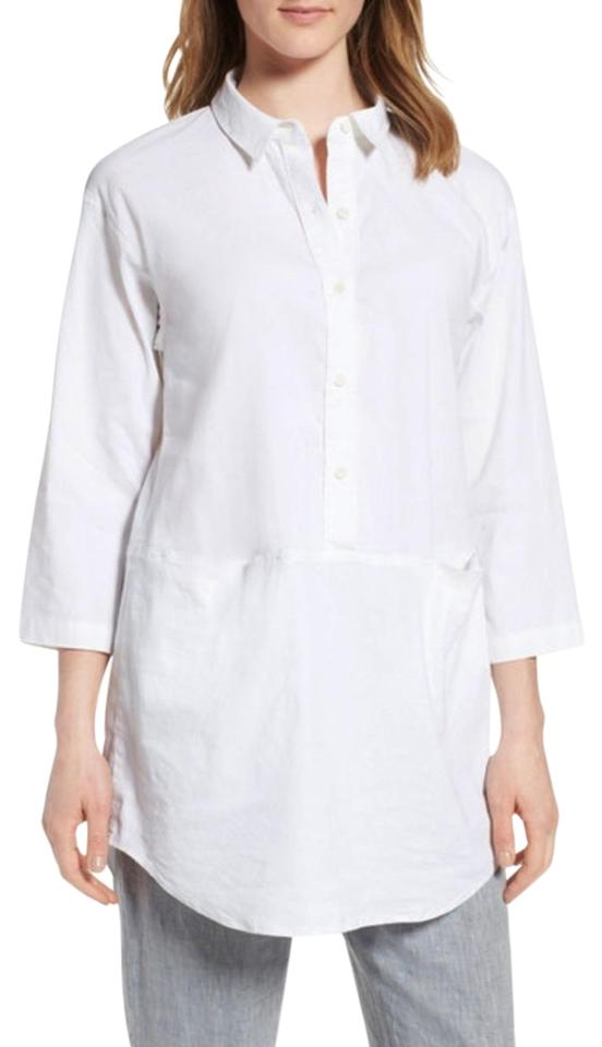 85396dd4 Eileen Fisher Curved Hem High Low Front Pockets 3/4 Sleeves Half Placket Buttons  Tunic ...