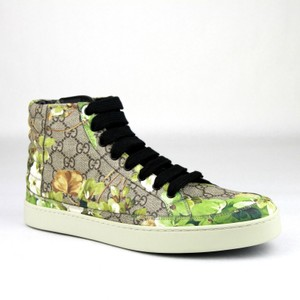 Gucci Green Men's 'bloom' Print Hi Top Sneakers 6.5g/Us 7.5 407342 8960 Shoes