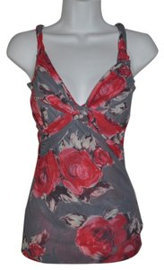 Sweet Pea by Stacy Frati Twisted Bust Knot Mesh Floral Top Gray+Red