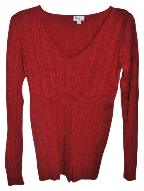 Mimi Maternity Lightweight Cable Knit FItted Red Maternity Sweater