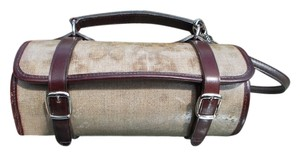 Chanel Designer Barrel White and Brown Clutch