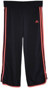 adidas Adidas Vintage Cropped Pants - Black with Coral Stripes and Insignia