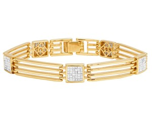 Jewelry Unlimited 10K Yellow Gold 9MM Princess Diamond Square Link Bar Bracelet 2.04 CT