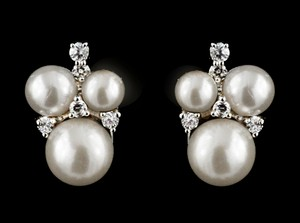 Pearl/Cz Cluster Earrings