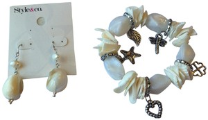Style & Co Abalone Shell Charm Bracelet with matching Earrings