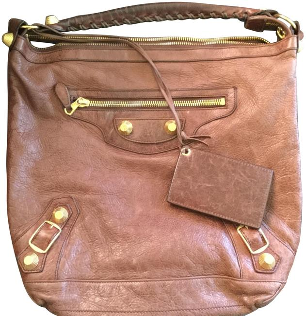 Item - Day Brown/Gold Lambskin Leather Hobo Bag