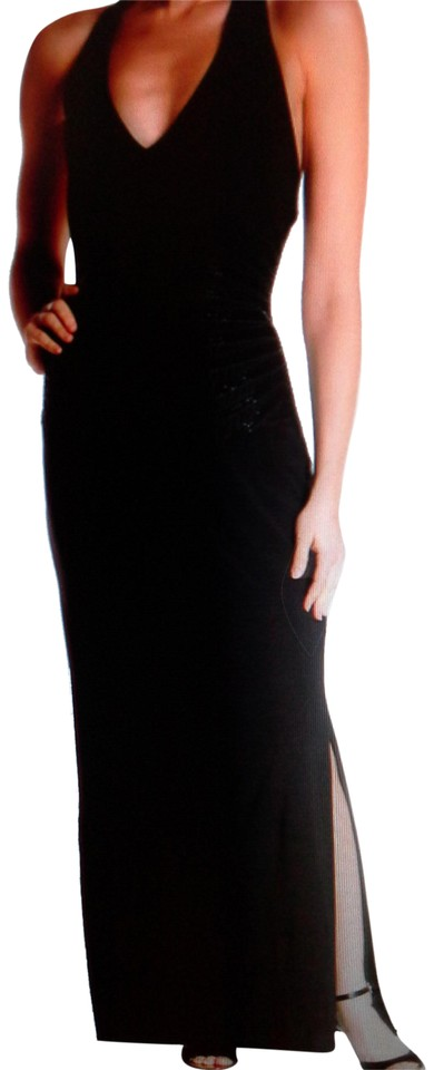 0d6914eed6f5 Laundry by Shelli Segal Black Women s Embellished Halter Gown Long ...
