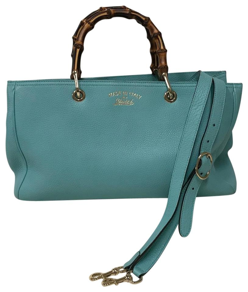 74b1c56bb Gucci Tote Pebbled Bamboo Top Handles Medium Teal Blue Leather ...