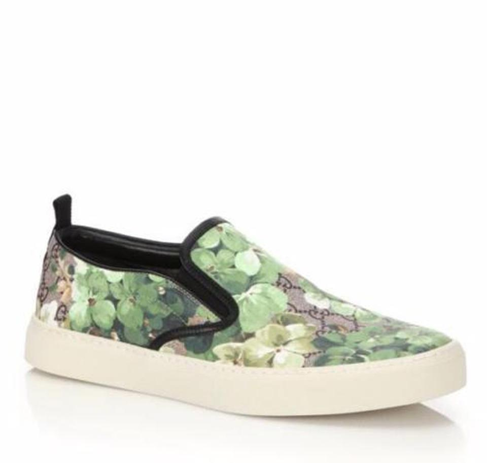 0a8c71ae7ff Gucci Green Men s  bloom  Print Slip-on Sneaker Flower 10g 11 407362 ...