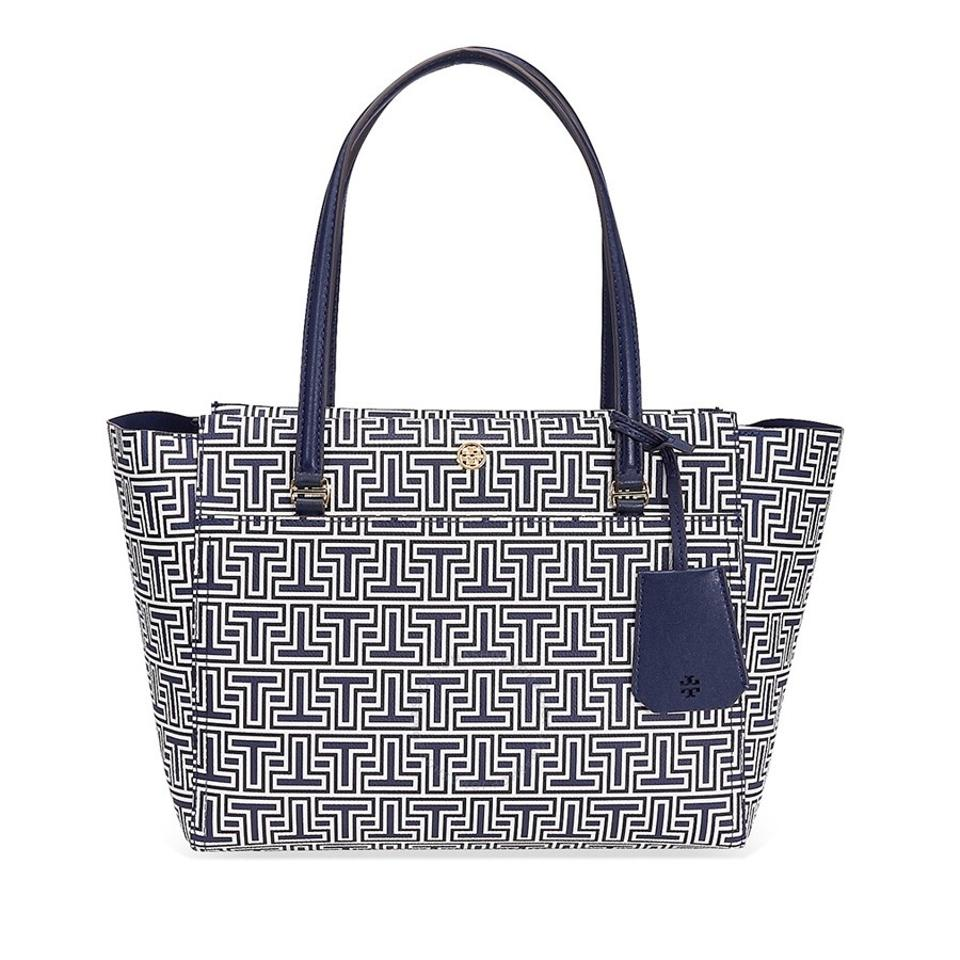c4e2715fdadc Tory Burch Parker Geo Navy Crafted In Water-resistant Material Tote ...