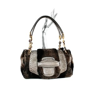 Oscar de la Renta Fur Python Shoulr Shoulder Bag