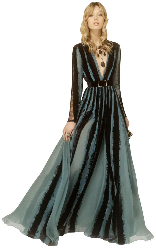 Elie Saab Black Blue Silk Chiffon Gown W/ Velvet Inserts Long Formal ...