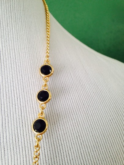 Kenneth Cole NWOT Faceted Black Stone Station & Dangle Long Necklace