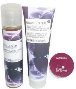 KORRES KORRES Natural Products Vanilla Plum Collection: Shower Gel, Body Butter & Lip Butter