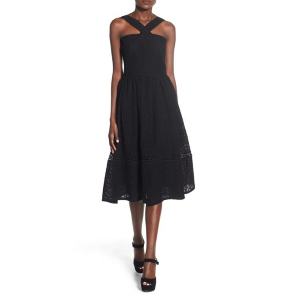 5b299cb1233 J.O.A. Black Lace Fit   Flare Midi Mid-length Cocktail Dress Size 4 ...