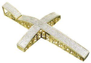 Jewelry Unlimited 10K Yellow Gold Genuine Diamond Icy Dome Cross Pendant Charm 1.5 CT