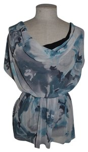 Sweet Pea by Stacy Frati Watercolor Mesh Draped Cowl Top Gray