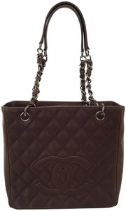 Chanel Pst Gst Quilted Logo Tote in brown