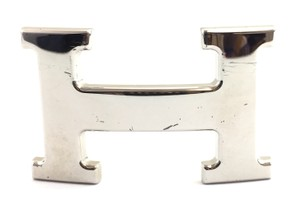 Herms #15367 32mm Silver Polished Classic H Logo reversible belt buckle