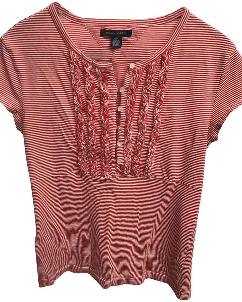 Tommy hilfiger red striped tee shirt size 4 s tradesy for Tommy hilfiger shirt size