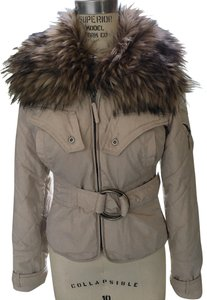 Twill Twenty Two Faux Fur Belted Zip Front Bomber Beige Jacket