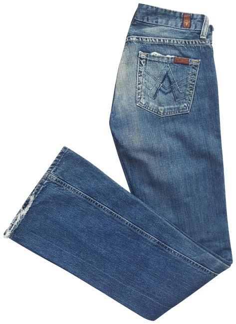 Item - Blue and White Acid A Pocket Boot Cut Jeans Size 25 (2, XS)