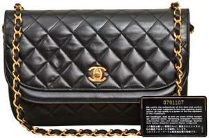 Chanel Quilted Lambskin Clutch Double Flap Shoulder Bag