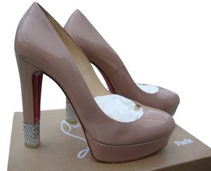 Christian Louboutin Swarovski Crystals On Heel Nude Pumps