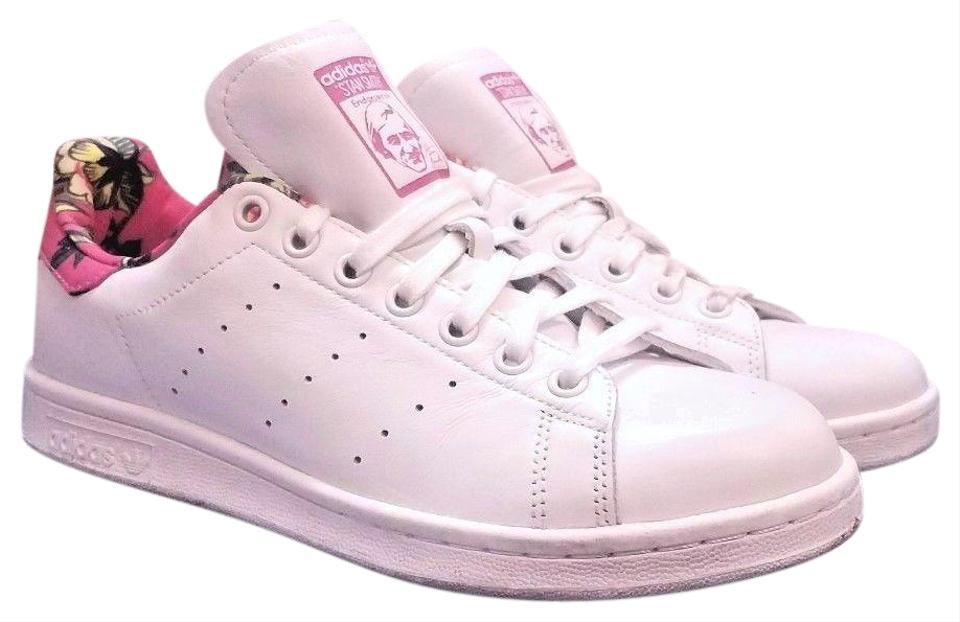 size 40 ca449 d9c5c adidas White/Ray Pink Floral Print Stan Smith Farm Sneakers Size US 8  Regular (M, B)