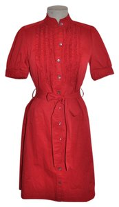 Saks Fifth Avenue short dress Red Stretch Cotton Ruffle Belted on Tradesy