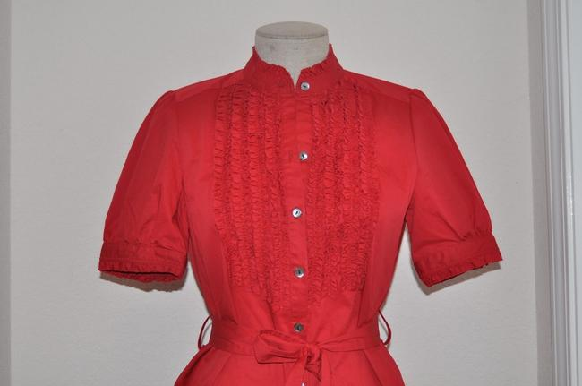 Saks Fifth Avenue short dress Red Stretch Cotton Ruffle Belted Shirt on Tradesy