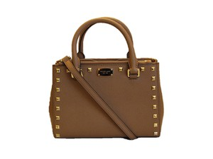 9ca7a79ae8b2 Added to Shopping Bag. Michael Kors Brown Luggage Studded Shoulder Satchel  in Acorn. Michael Kors Kellen Studded Extra Small Acorn Saffiano Leather  Satchel