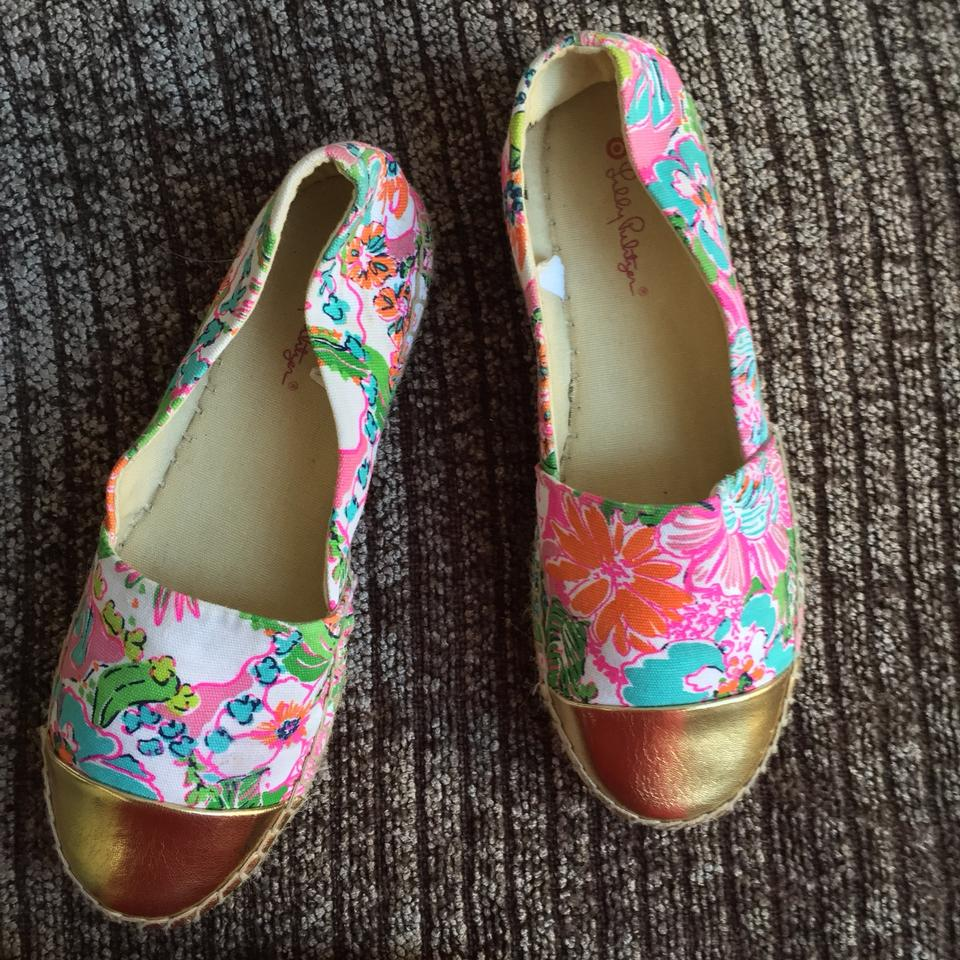 6b827ea7f97c3d Lilly Pulitzer for Target Pink Multi Nosie Posey Floral Gold Cap Toe  Espadrille Flats