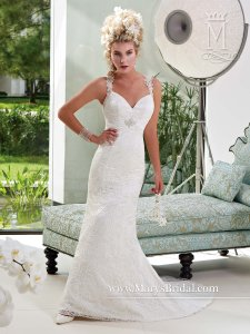 Mary's Bridal Ivory / Multi All-over Schiffli Lace Fairytale Princess 6318 Sexy Wedding Dress Size 12 (L)
