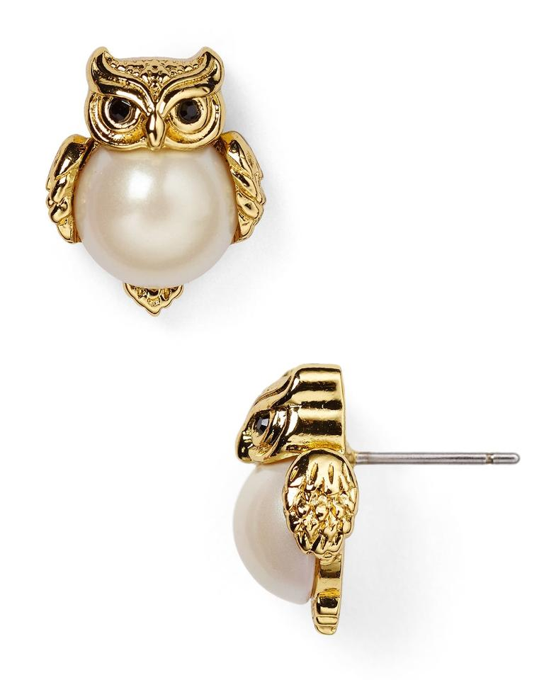 Kate Spade Brand New Into The Woods Owl Earrings 14k Gold