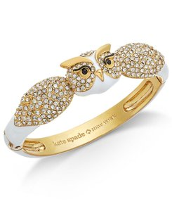 Kate Spade BRAND NEW Kate Spade Star Bright Wise Owl Hinged Cuff Bangle Bracelet