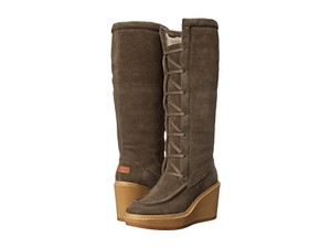 See by Chloé Shearling Knee High Wedge Lace Up Grey Boots