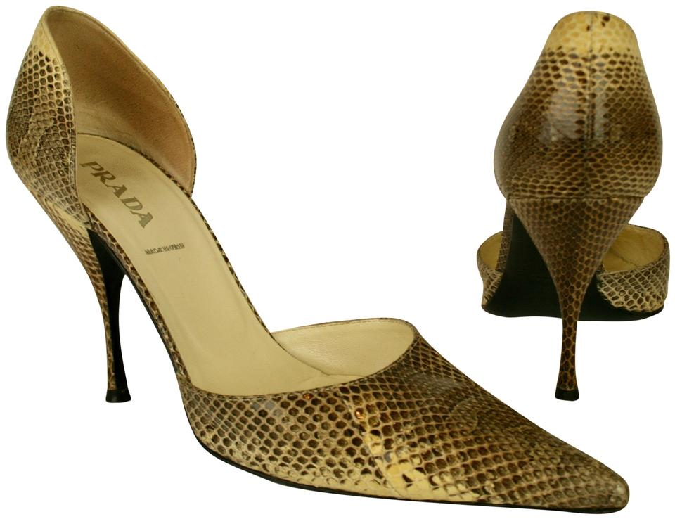 0358241724c2 Prada Brown. Beige Cream Ivory Snakeskin with Open Sides Pumps. Size  EU ...