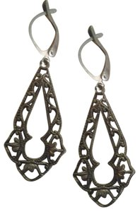 Handmade Silver Filigree Dangle Earrings Antiqued Silver FREE SHIP