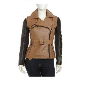 Laundry by Shelli Segal Leather Belted Moto bicolor Jacket