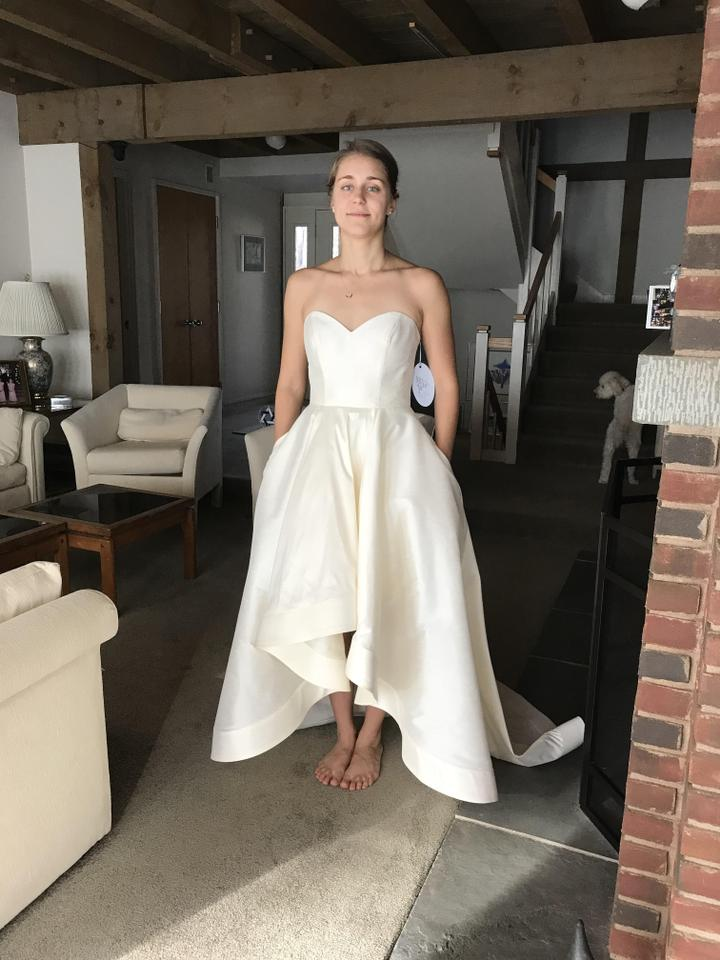 Anne Barge Ivory Dupioni High Low Ryland Gown By Blue Willow ...